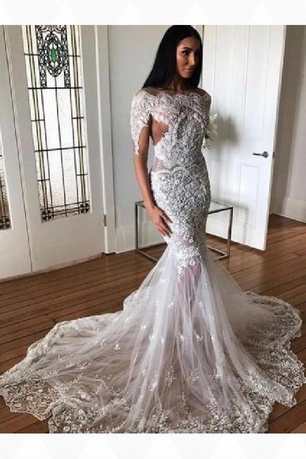 abb61291acc Outlet Distinct Wedding Dresses With Appliques