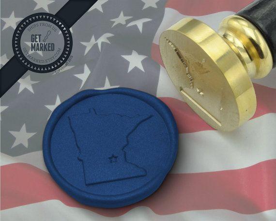 Minnesota State - Wax Seal Stamp by Get Marked  #wax, #waxseal, #waxsealstamp, #invitation, #DIY, #wedding, #GetMarked, #minnesota