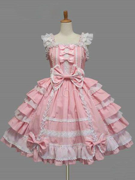 886c40340e1c6 Sweet Lolita Dress JSK Pink Cotton Lace Bow Ruffled Layered Lolita ...