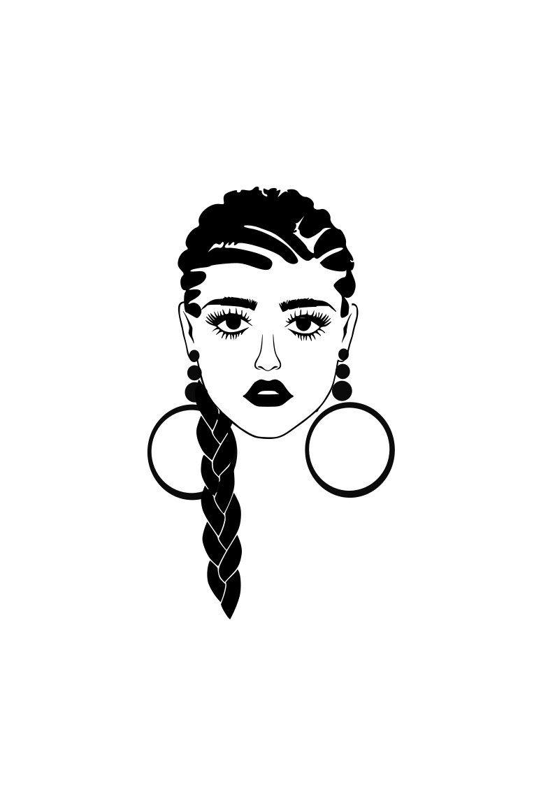 Imahja With Braid, Braided Hair SVG, Natural Hair SVG