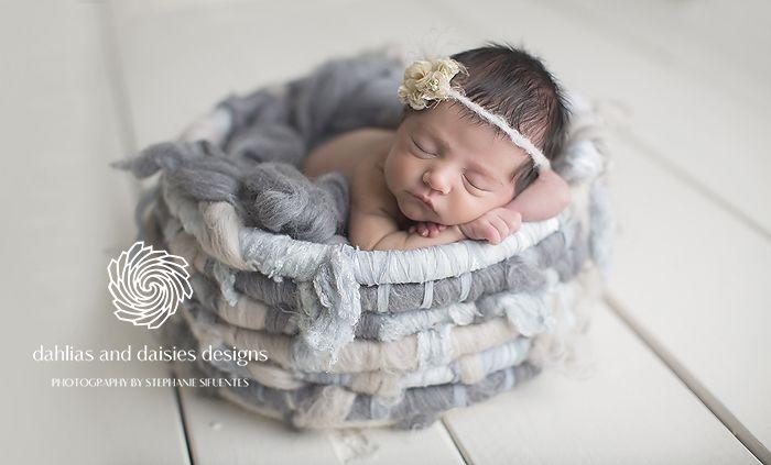 Plano newborn photographer girl blue grey basket
