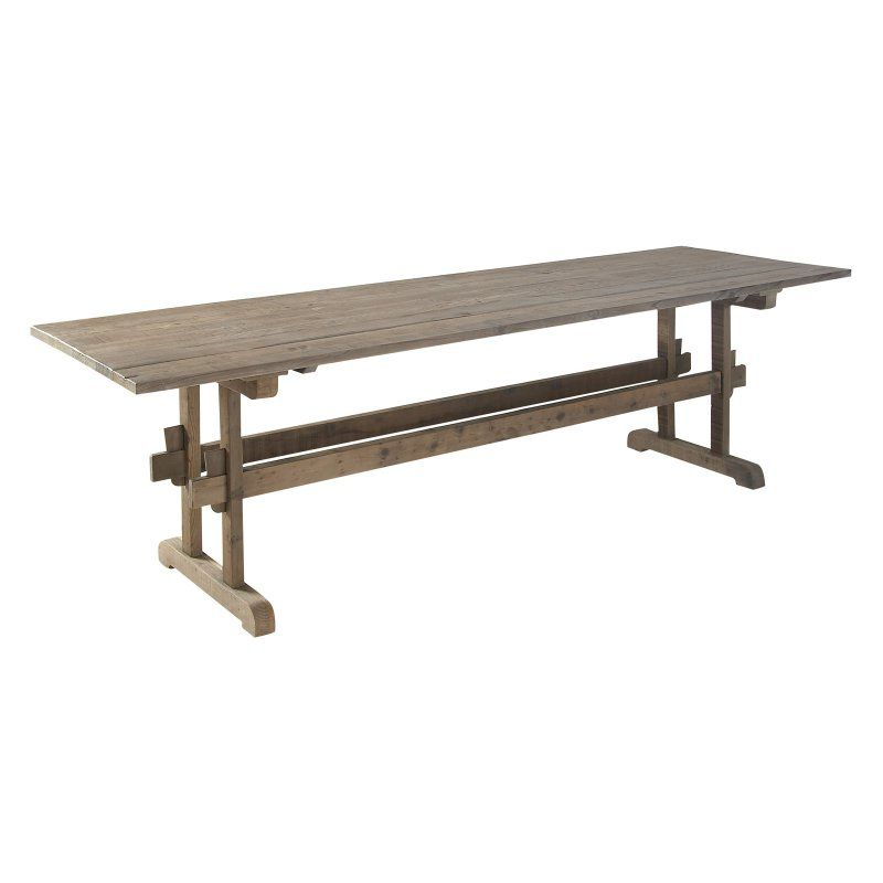 Decmode Rustic Rectangular Wooden Dining Table Wooden Dining