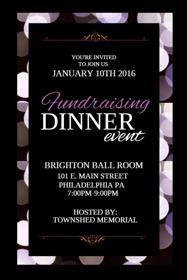 fundraising dinner event poster flyer social media custom template