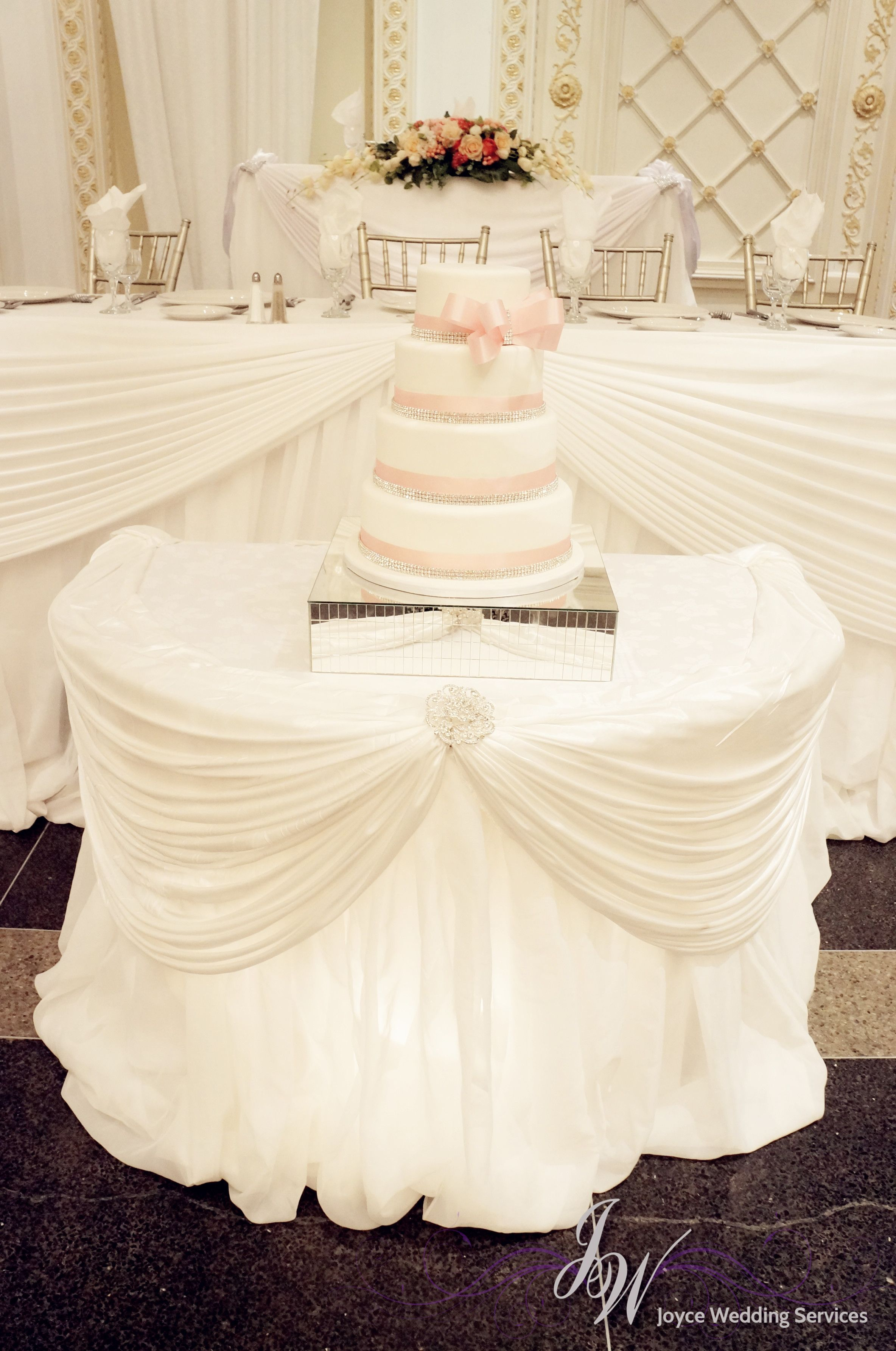 White #theme #receptipn #decoration with #caketable and #headtable ...