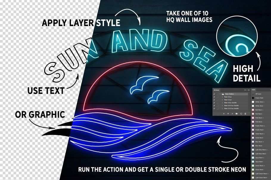 Ad Neon Text Layer Styles FREE BRUSHES by Graphic Spirit