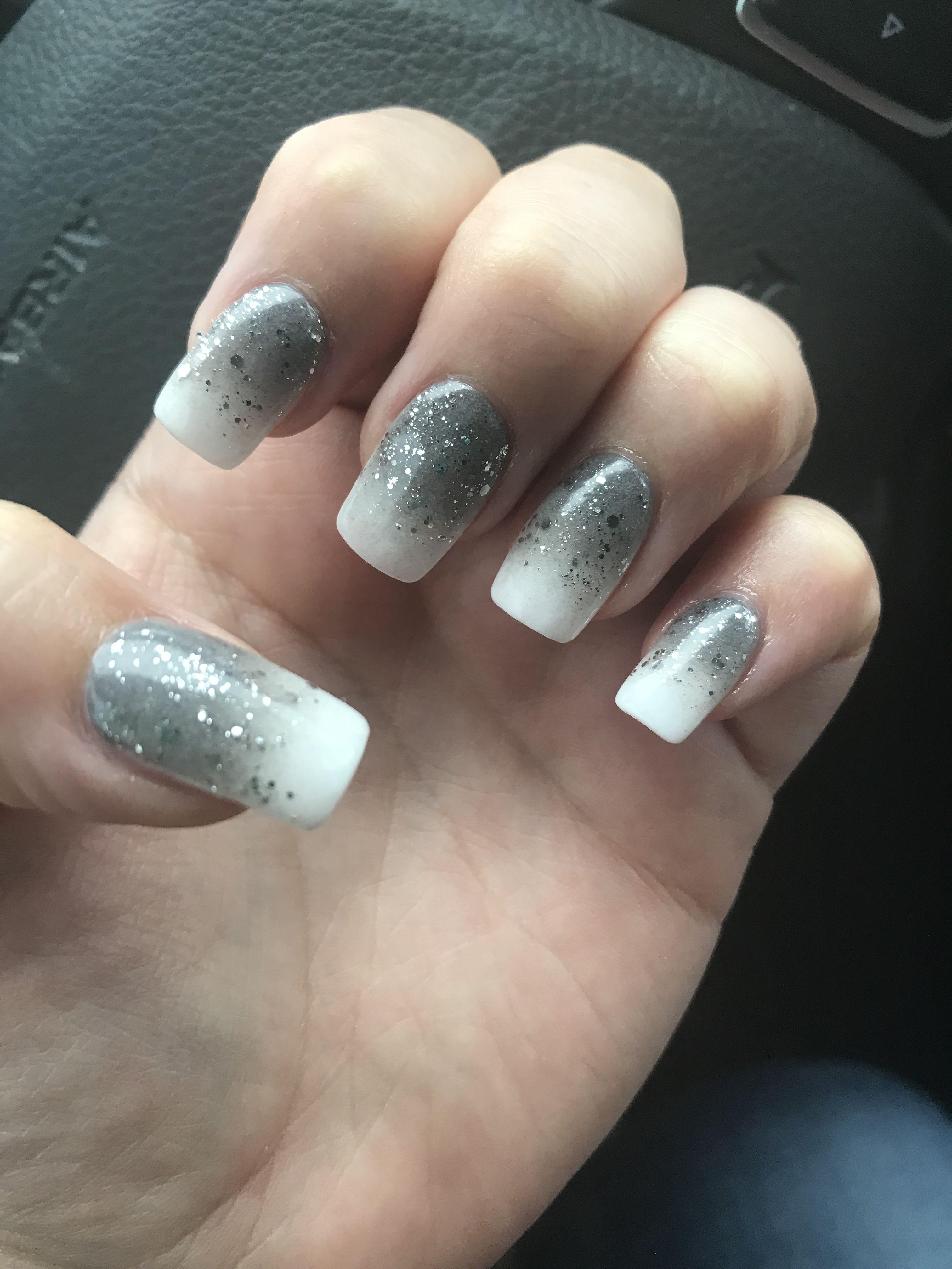 Ombre Snsnails Grey White Sparkles Nails Long Beautiful Pink Ombre Nails White Sparkle Nails Sns Nails