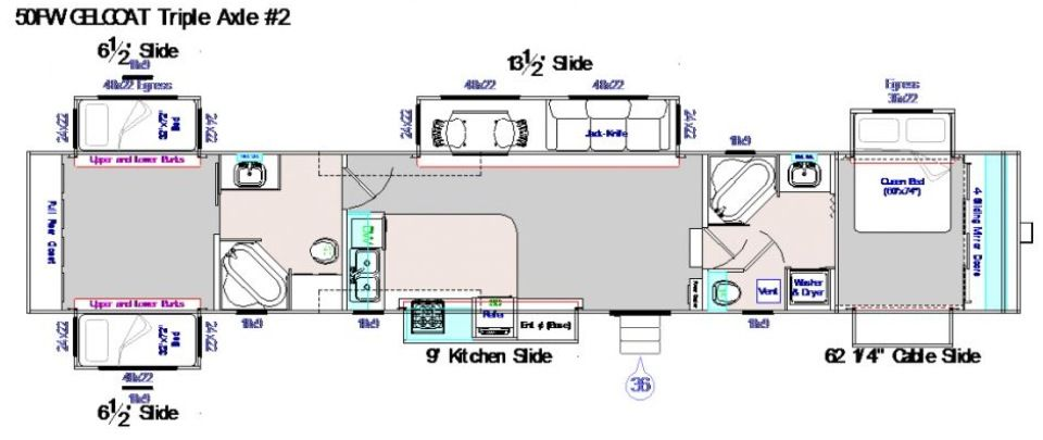 50 Foot Fifth Wheel 5 Slide Outs Corner Kitchen With