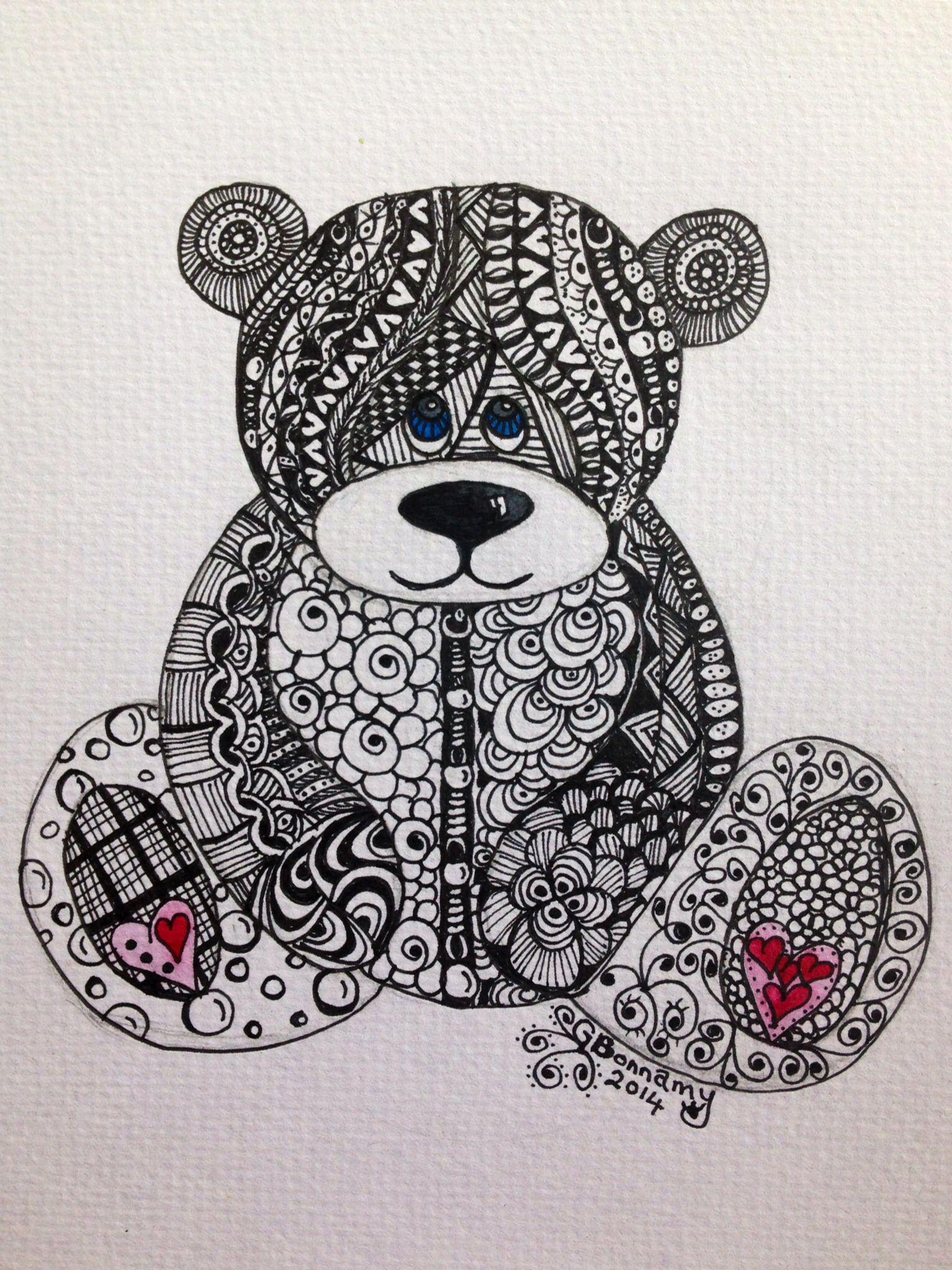 Zentangle Teddy Bear On Watercolour Paper Houtbrand Zendoodle Zentangle