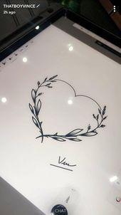 Flower Heart Simple Line Tattoo  Flower Heart Des Draw des