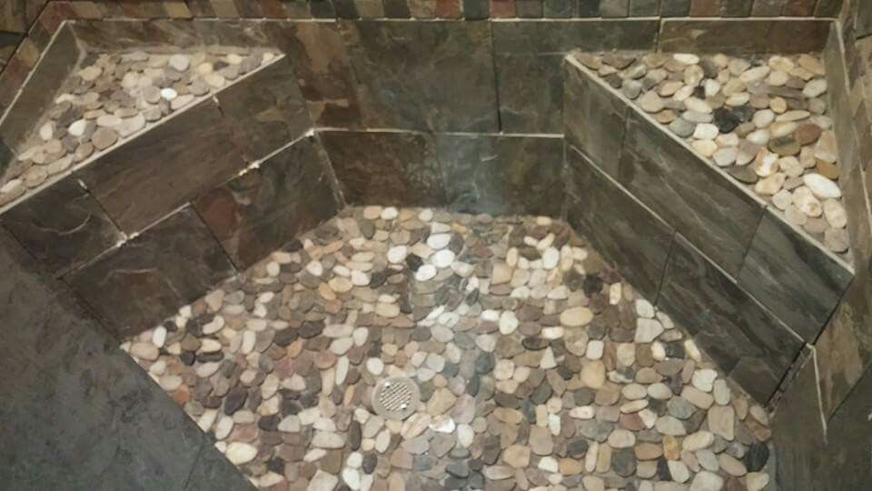 Shower Pan With Corner Bench.Pebble Rock Shower Pan And Corner Benches Rock Shower
