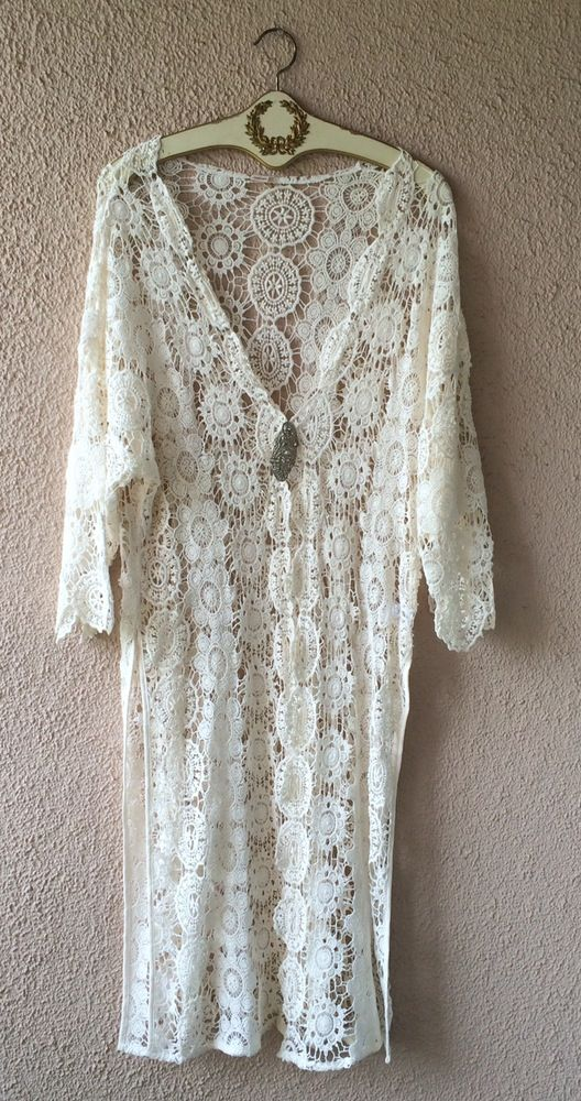 Image of Anthropologie Beach wedding crochet maxi gypsy kimono for resort walks in sand