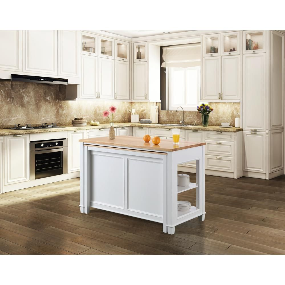 Design Element Medley White Kitchen Island with Slide Out Table KD ...