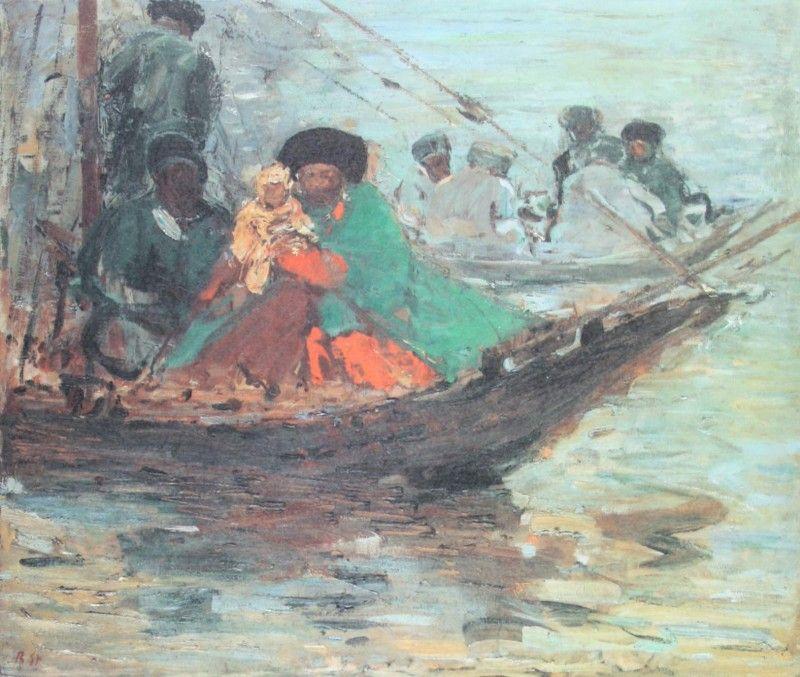 """Robert Sterl,  """"Kalmueckenboot auf der Wolga"""""""