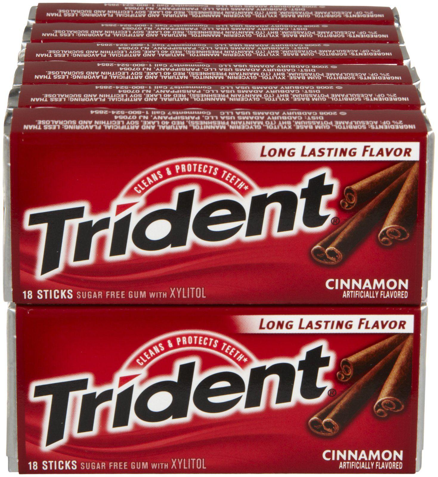 Trident S F Cinnamon Gum 18 Ct 12 Pk Free Shipping Cinnamon Gum Sugar Free Gum Gum
