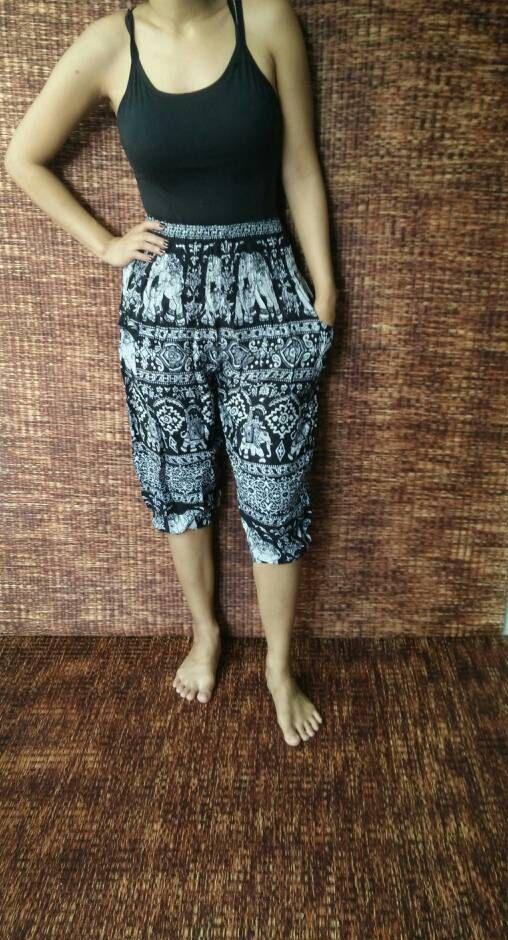 High Waisted long shorts Boho elephants fabric by TribalSpiritShop