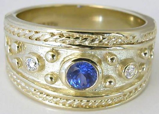 etruscan style engagement ring | 37 ctw Etruscan Sapphire and Diamond Ring in 14k yellow gold