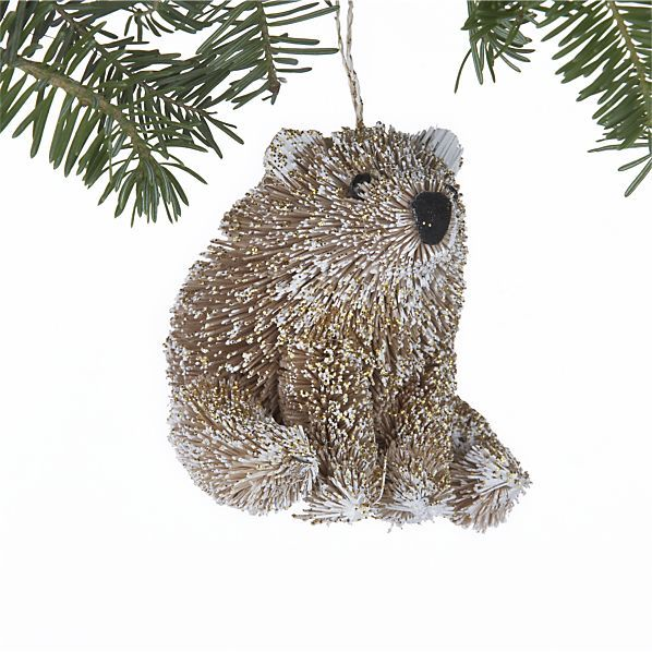 Glitter Buri Polar Bear Ornament in Winter Clearance Sale Crate