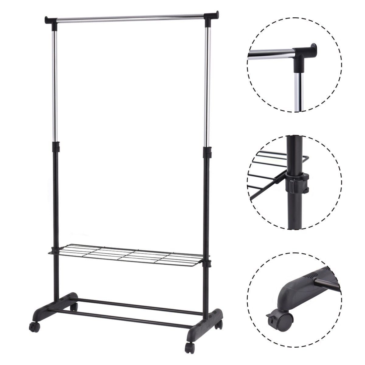 Rolling Clothes Hanger With Height Adjustable Shoe Rack With