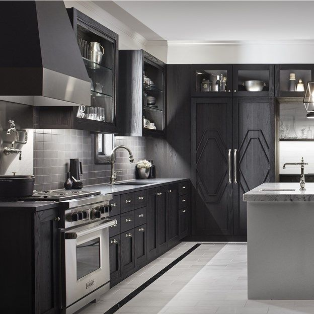A Matte Black Kitchen Makes A Bold Statement In This: Savoy Collection In Graphite Matched With Dolomite Corina