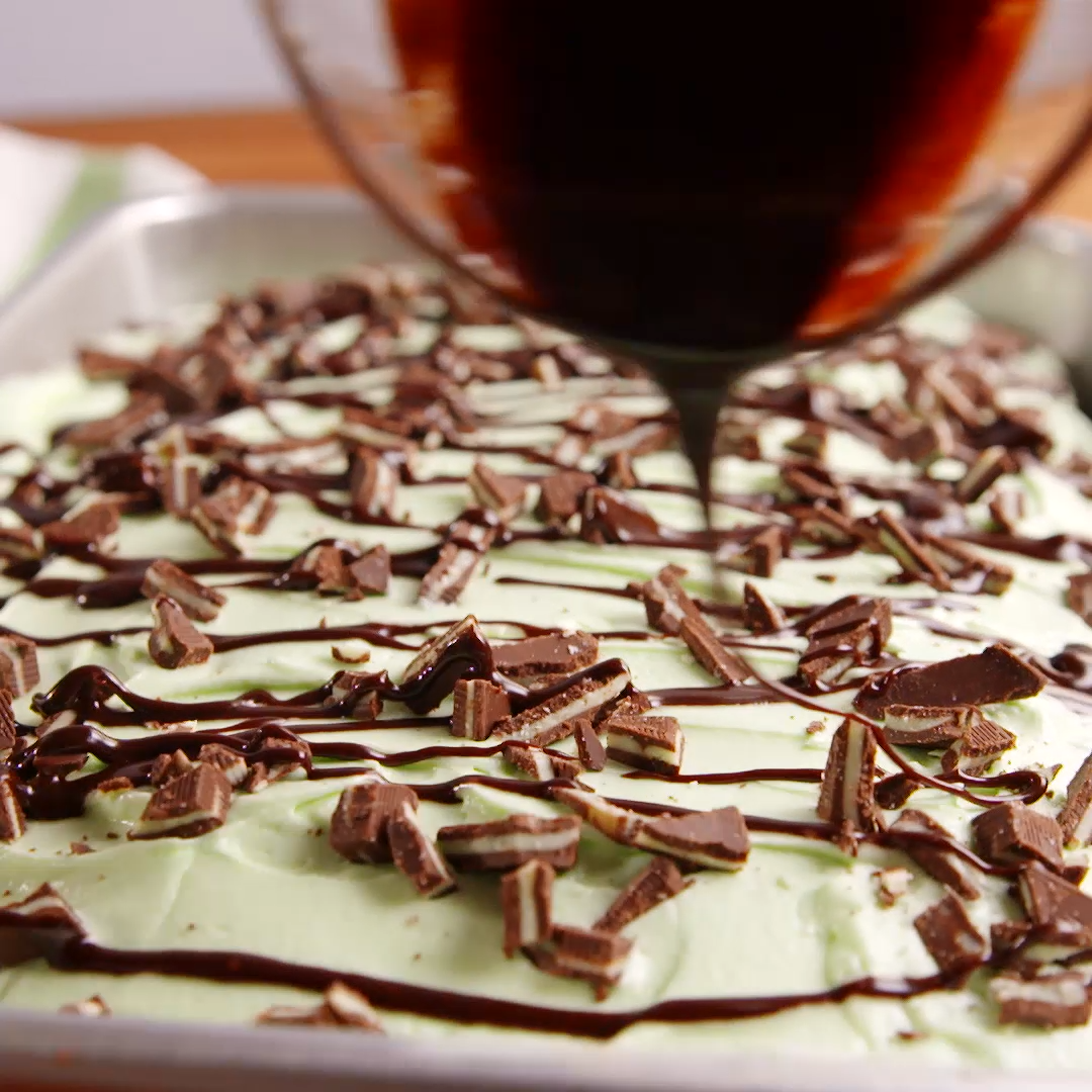 Mint and chocolate are the perfect duo for this poke cake. Get the recipe at .
