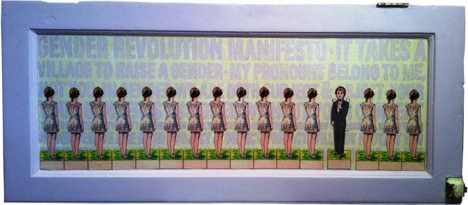 """Paper Doll Manifesto: Artwork for Sylvia Rivera Law Project Art Show """"Small Works for Big Change"""""""