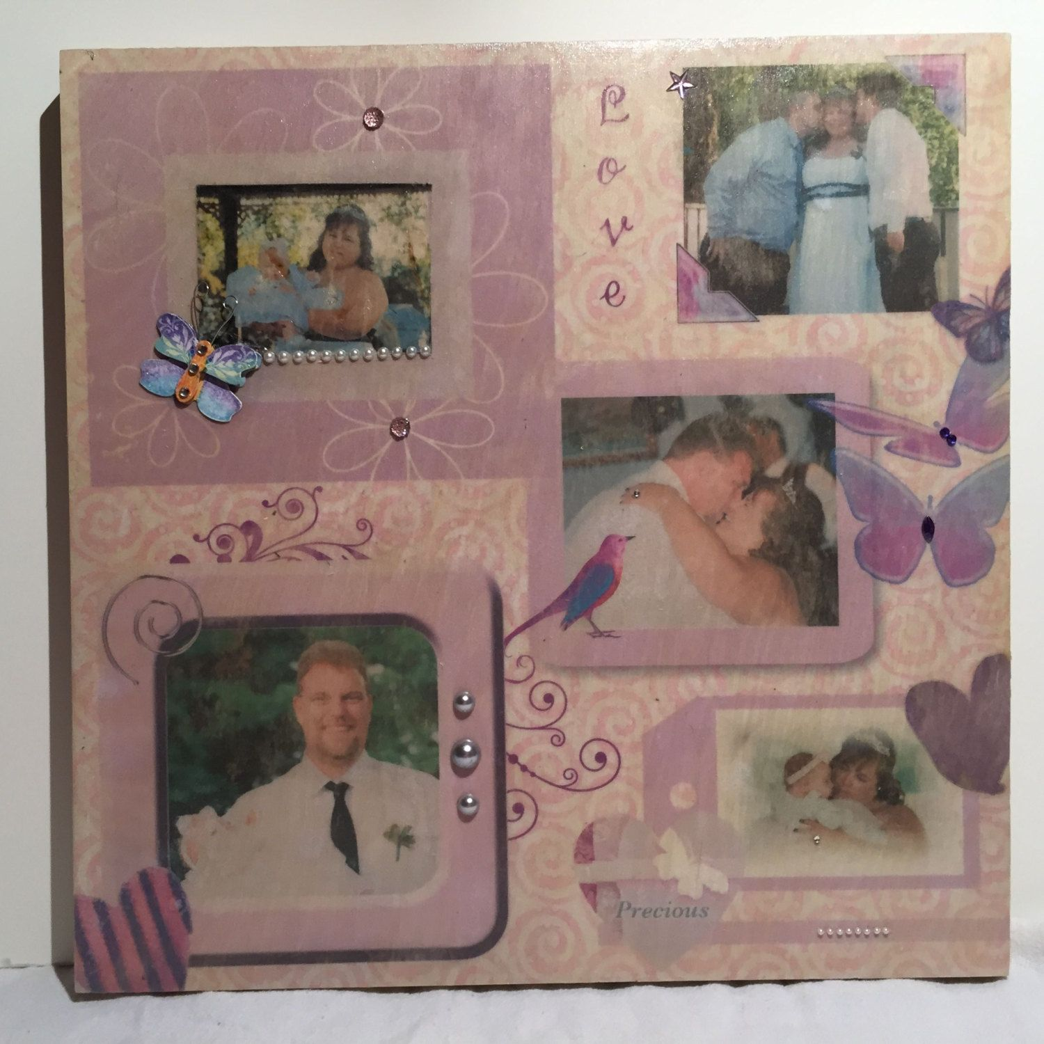Photo transfer to wood, 12x12 scrapbook page layout for wedding, baby, & more!  Great way to display a scrapbook layout on wood. Great Gift by KousoulasKreations on Etsy