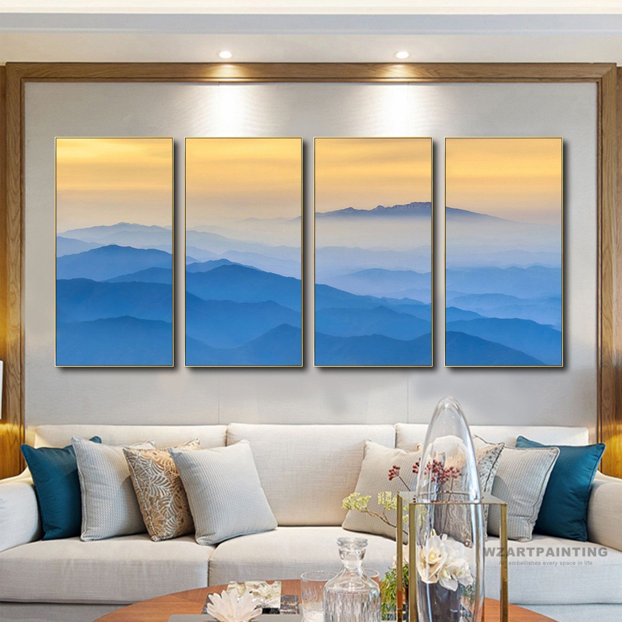 Framed Wall Art Set Of 4 Prints Abstract Mountain Landscape Blue Print Painting On Canvas Large Wall Art Framed Wall Art Sets Large Wall Art Wall Art Pictures