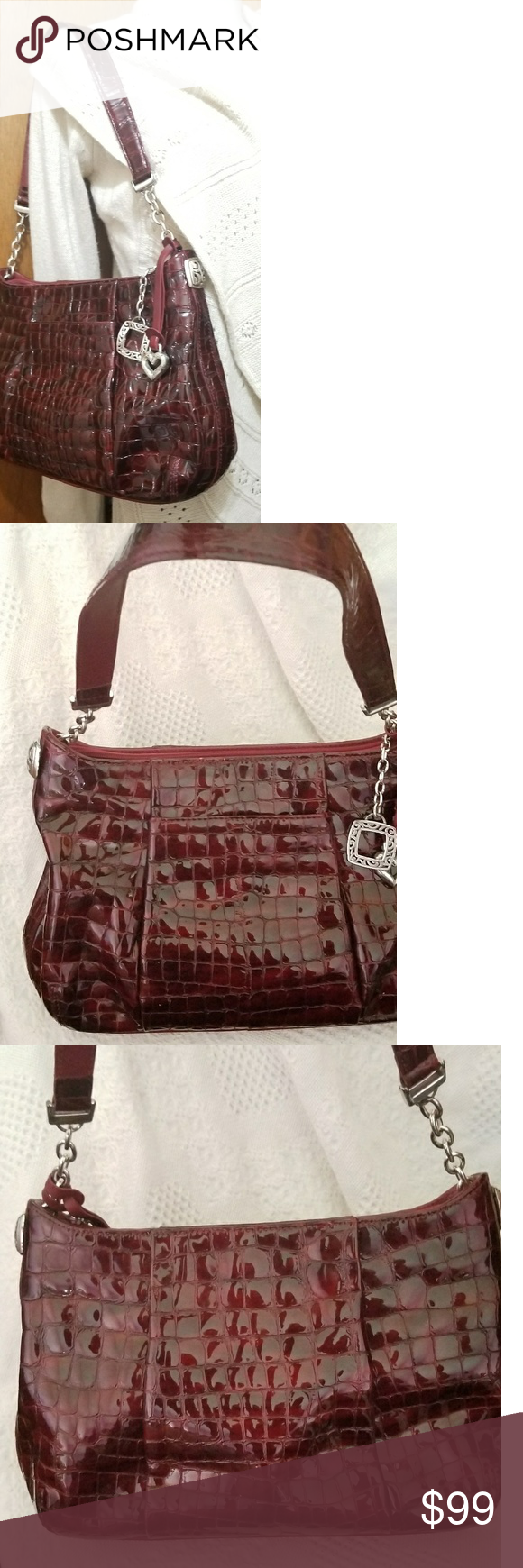 Brighton Purse Muse Shoulder Bag Burgundy Croc The Strap Has A Drop Of Roximately 10 Inches This Stunning Is 8 3 4 In