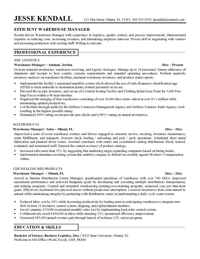 Resume Sample Warehouse Worker -    jobresumesample 1071 - resume for warehouse manager