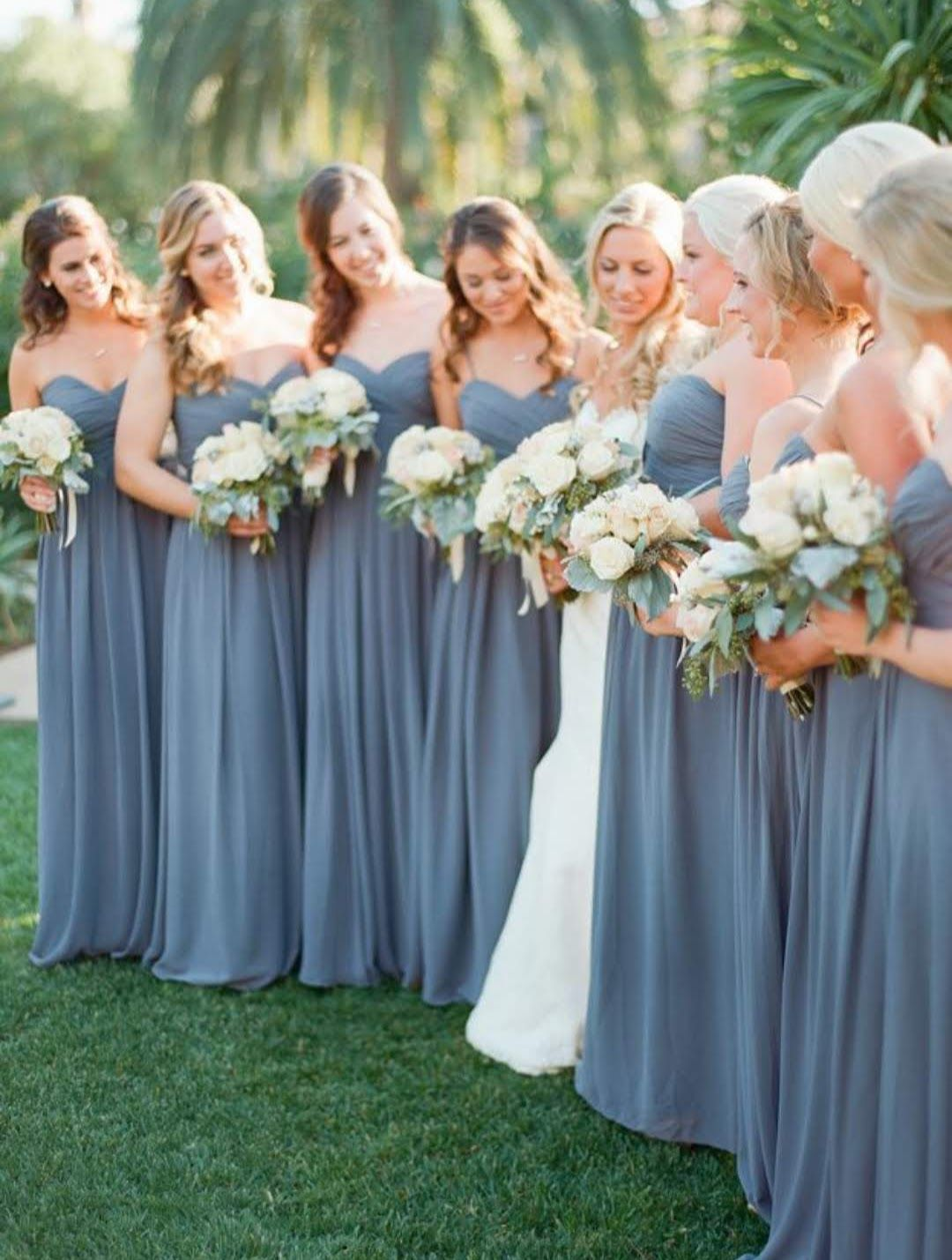 Blue bridesmaidsu dresses with grey groomsmen attire bouquet with