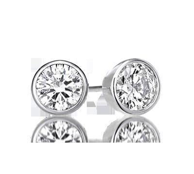 Bezel Set Round Diamond Earrings Bezelearrings Bezelstudearrings 1 Carat Earringstwo