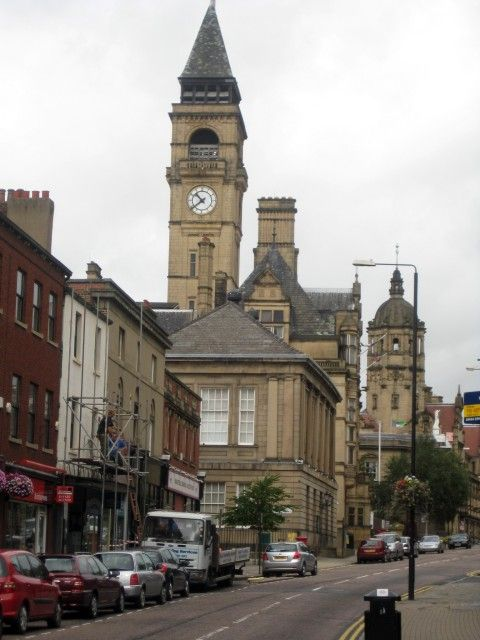 Wakefield Town Hall clock tower.