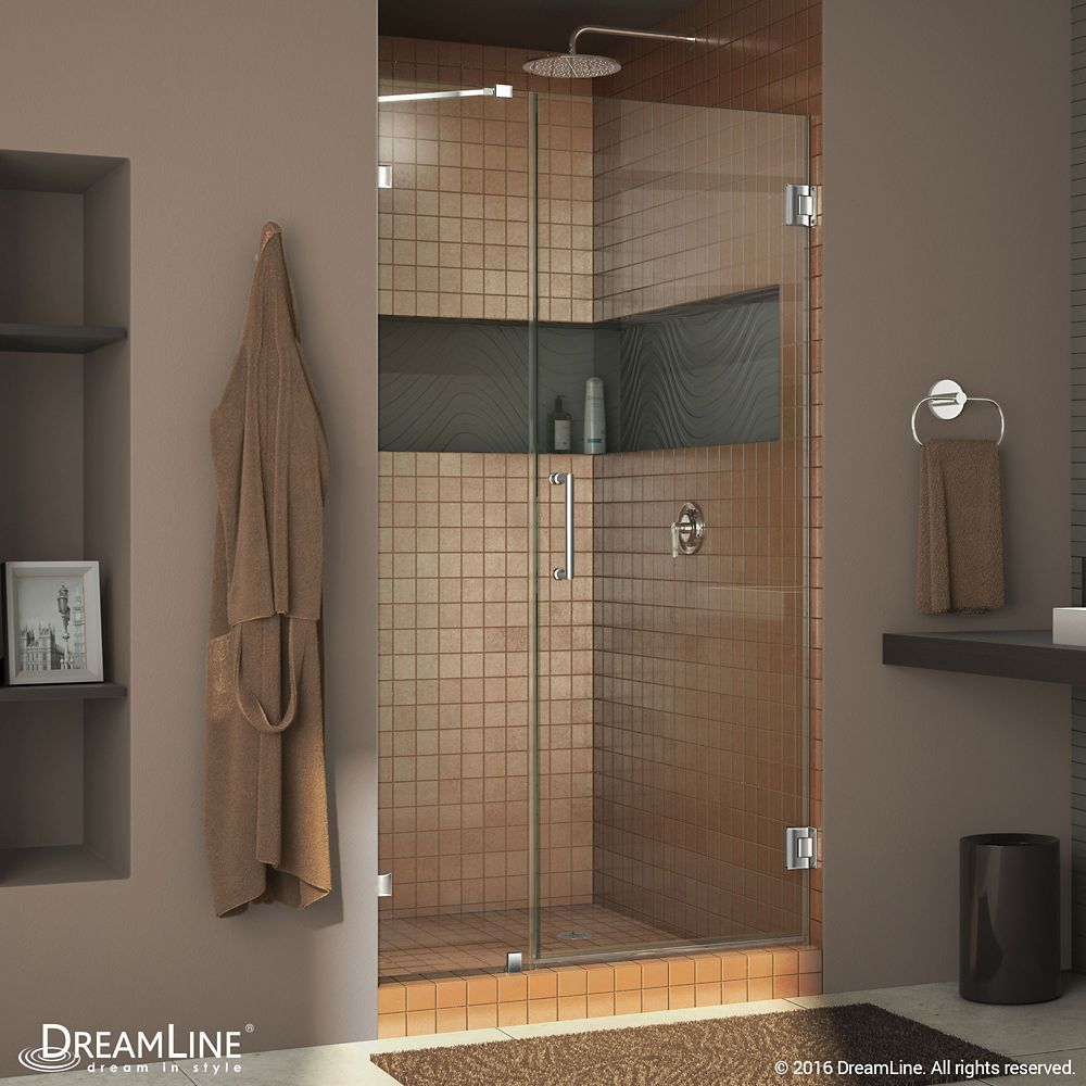 Unidoor Lux 48 Inch X 72 Inch Frameless Pivot Shower Door In