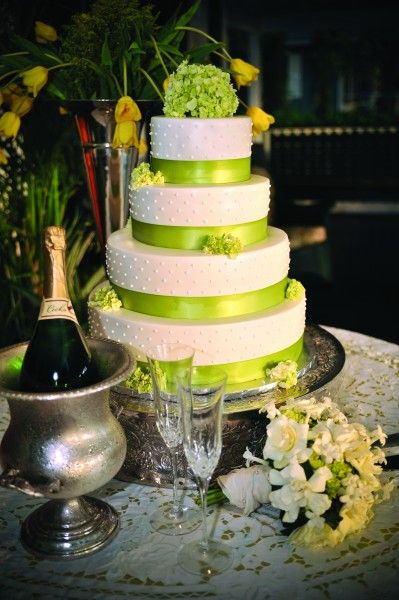 lime green and orange wedding cakes looks pretty simple like the green ribbon maybe 16898