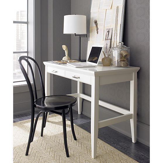 Paterson White Desk In Desks Crate And Barrel Solid Hardwood