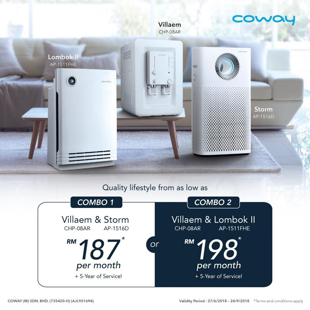 Coway Latest August Promotion 2018 2 In 1 Combo Water Purifier Air Purifier Combo 1 Villaem Storm Rm187 Water Purifier Dispenser Design Air Purifier
