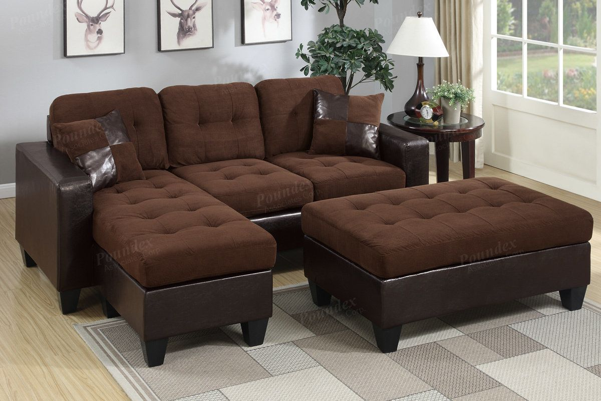 Brown Sectional Sofa With Ottoman F6928   http://www ...