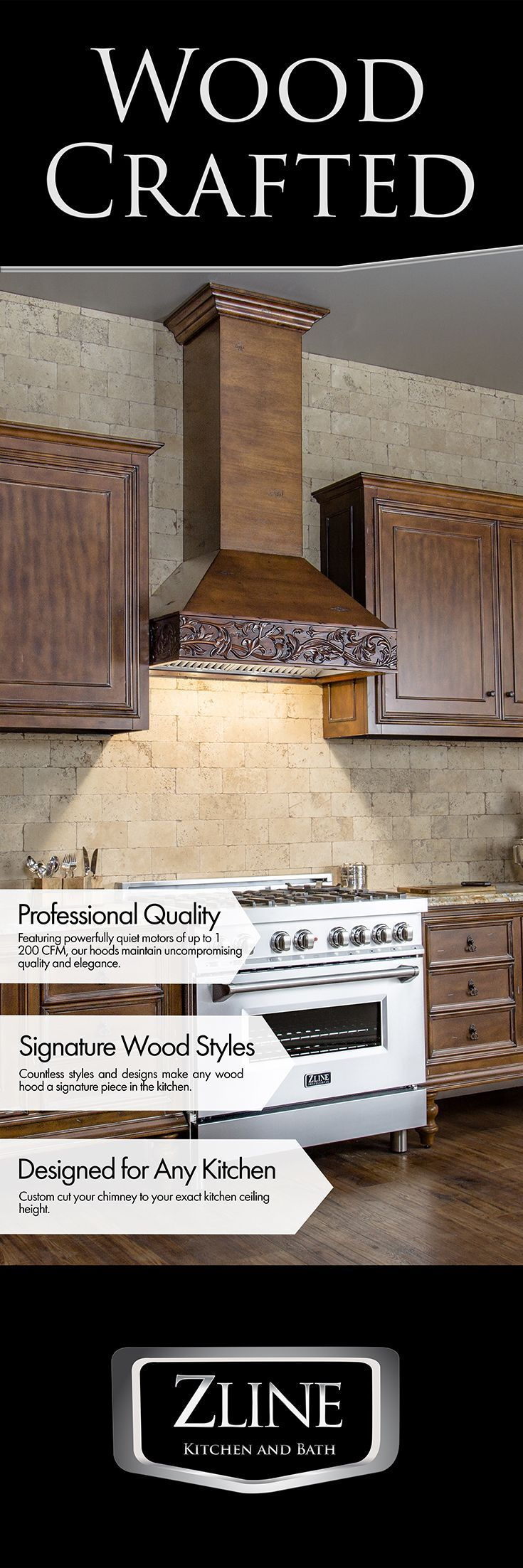 The Designer Series Wooden Range Hood Handcrafted Detail And High Performance Combine To Provide You Wit Wooden Range Hood Kitchen Exhaust Kitchen Vent Hood