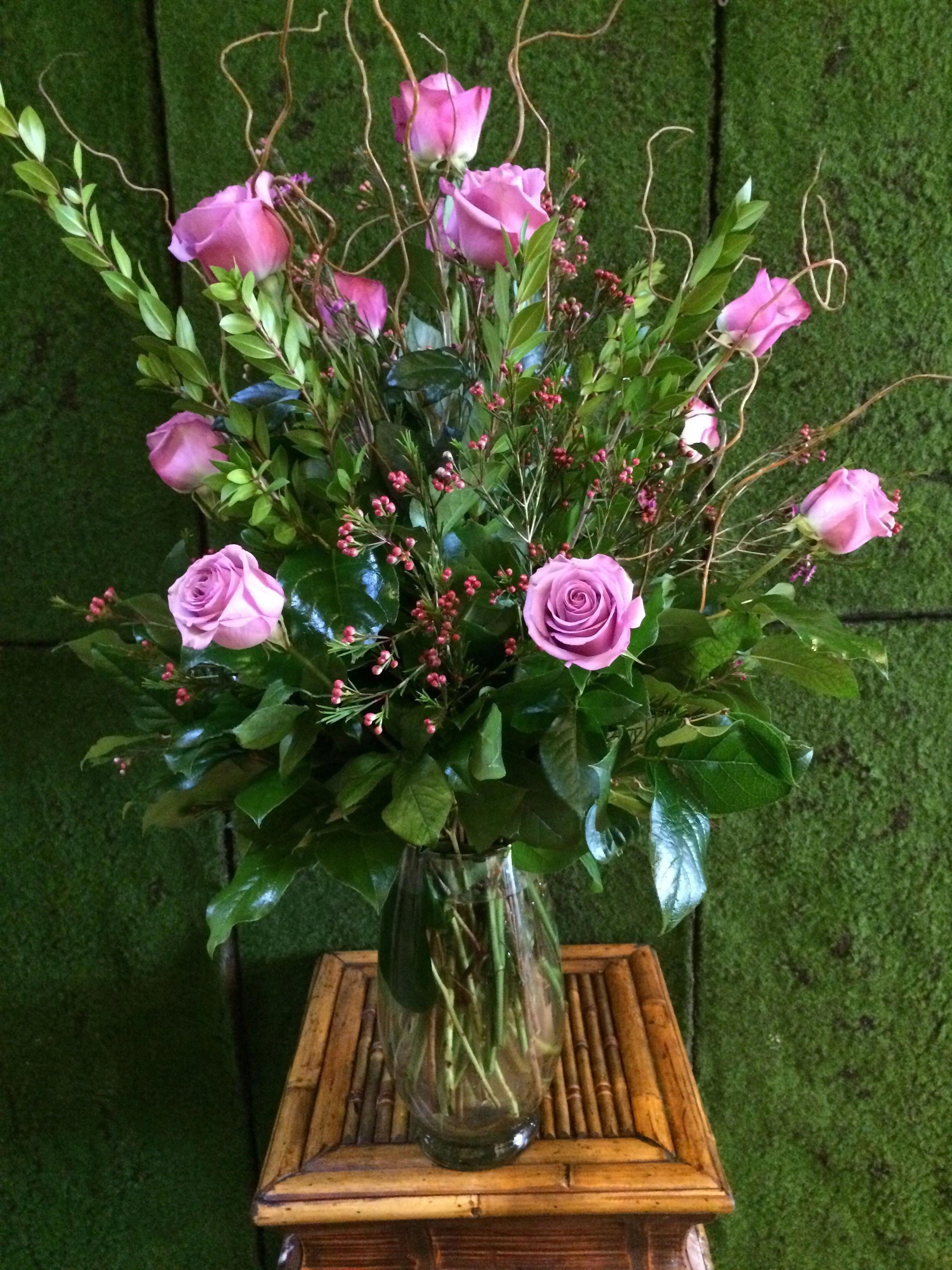 Lavender long stem roses arranged longstemrosesarrangement long