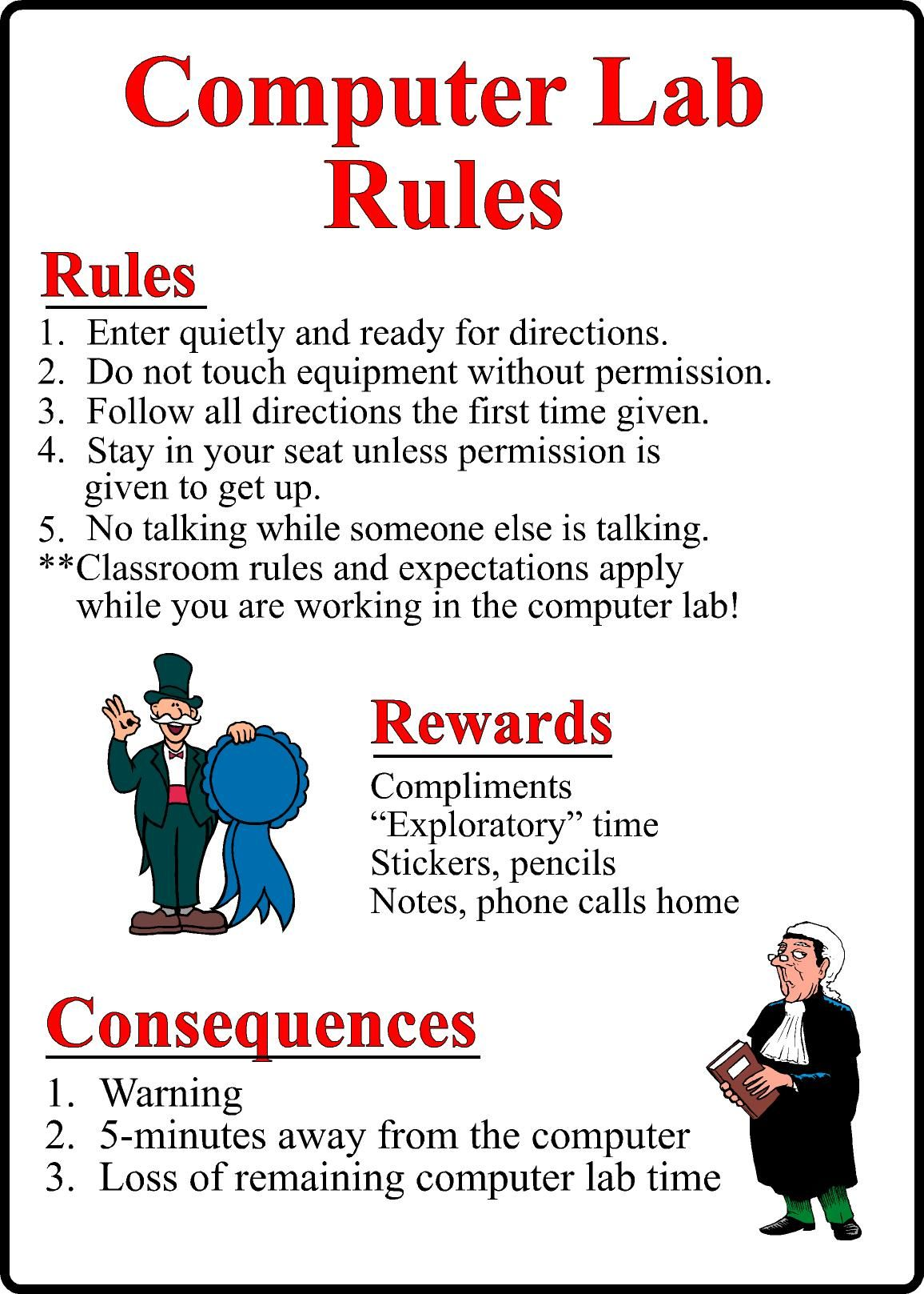 Computer Classroom Design Examples ~ Computer lab rules for students pdf google search