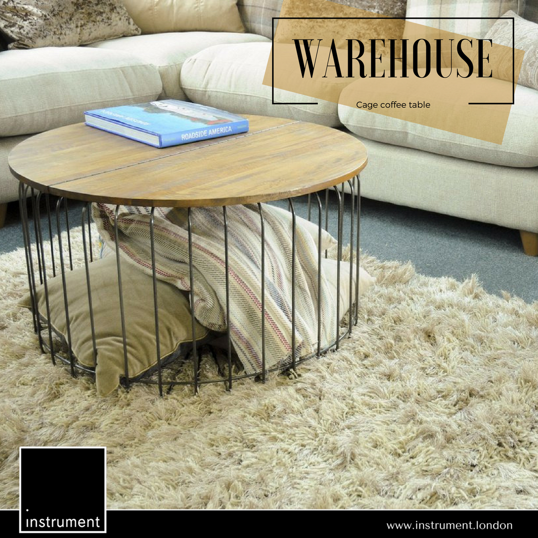 Instrument Warehouse Cage Round Coffee Table Mango Wood Coffee