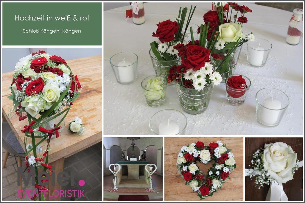 Tischdeko Schlo Kngen und Brautstrau mit Rosen in rot