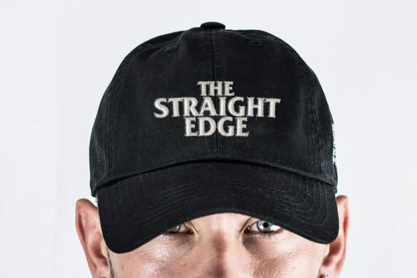 The Straight Edge strapback dad hat in black from the STRAIGHTEDGEWORLDWIDE  Store b6eb572885f
