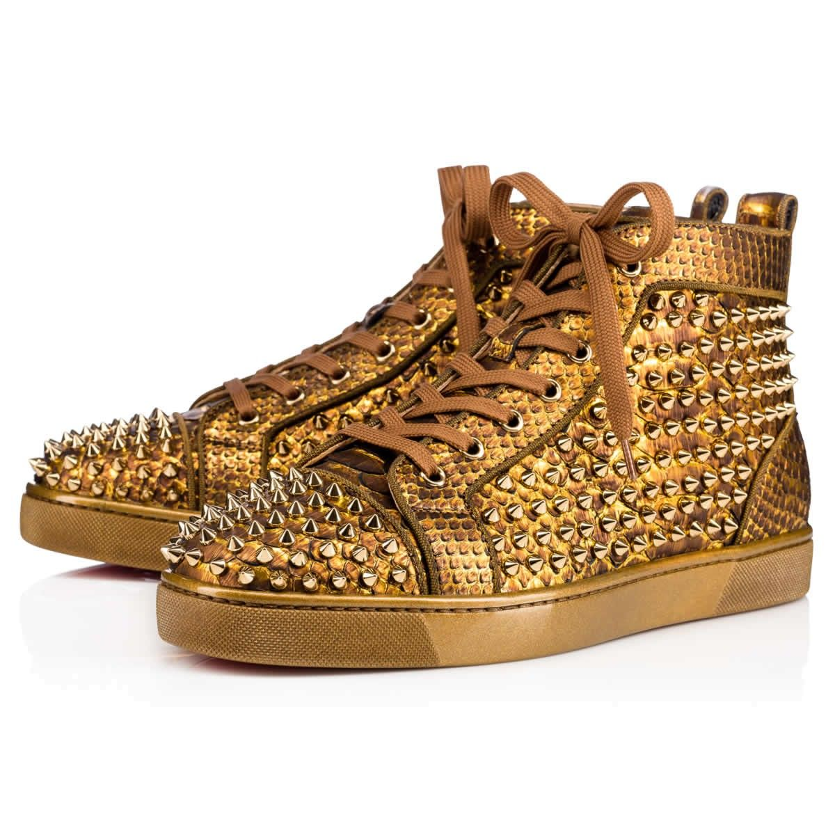 7fe3a77eb99 CHRISTIAN LOUBOUTIN Louis Spikes Orlato Flat Antic Gold Python Cuirasse - Men  Shoes - Christian Louboutin.  christianlouboutin  shoes