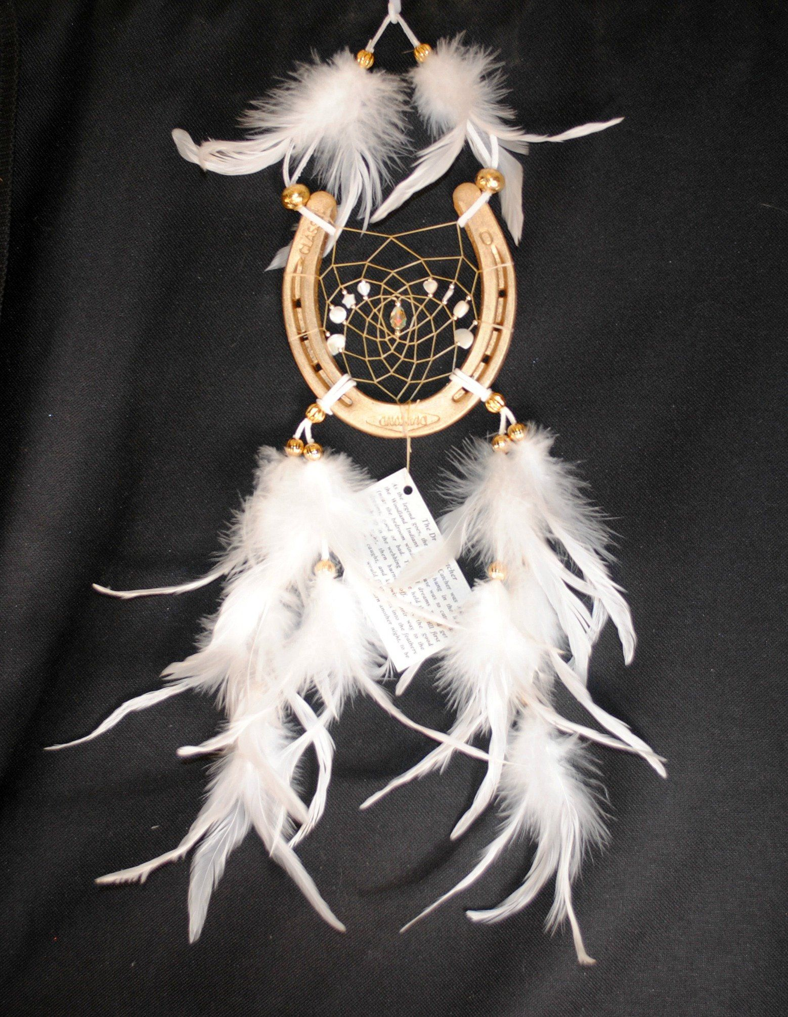 White Horseshoe Dreamcatcher On A Gold Horseshoe Mother Of Pearl