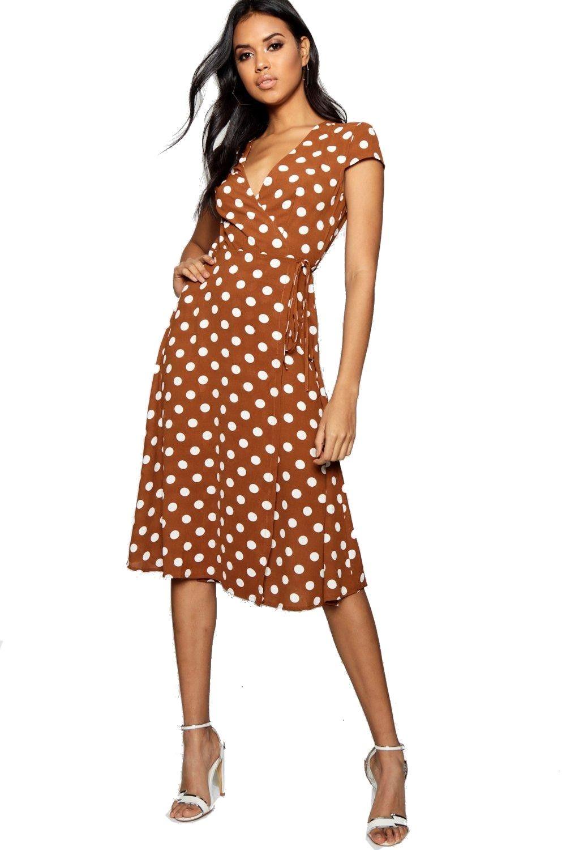 dd7e37424262 BOOHOO Boutique OLIVIA Hnedé bodkované zavinovacie šaty foto