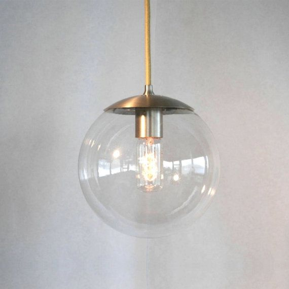 Adapted For International Use   Mid Century Modern Clear Globe Pendant Light    The Orbiter 8