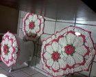 Jogo de banheiro com flor camelia