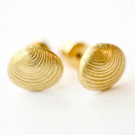 Tiny Golden Seashell Post Earrings ==