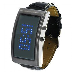 @everbuying  $18.99 Scrolling Text/Advertisement LED Watch with Blue Light Leather Watch Band - Silver Cover #gifts